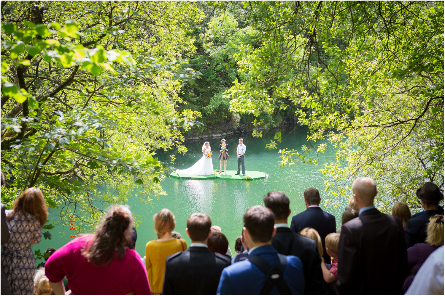 4 floating lake wedding ceremony