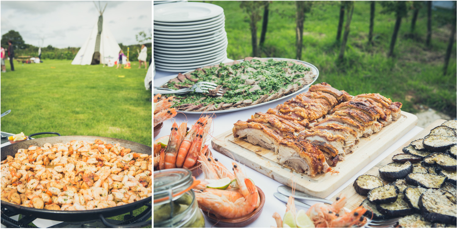 16 prawns with tipi and pork belly and aubergine buffet