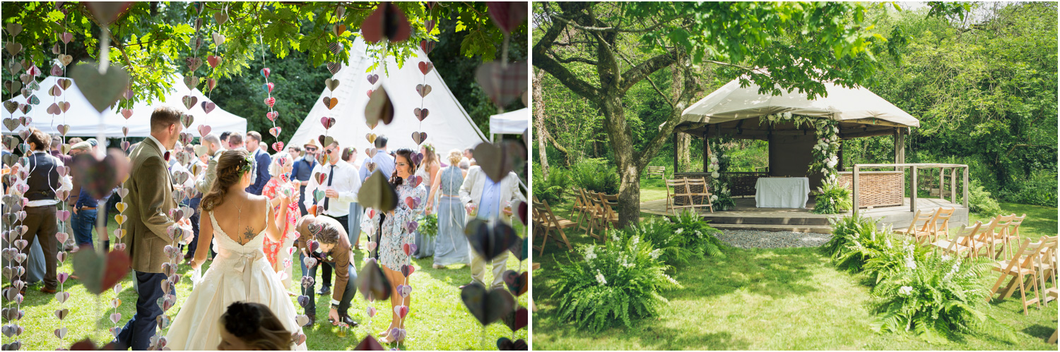 11 Wedding pavilion decorated with ferns drinks reception with hanging hearts