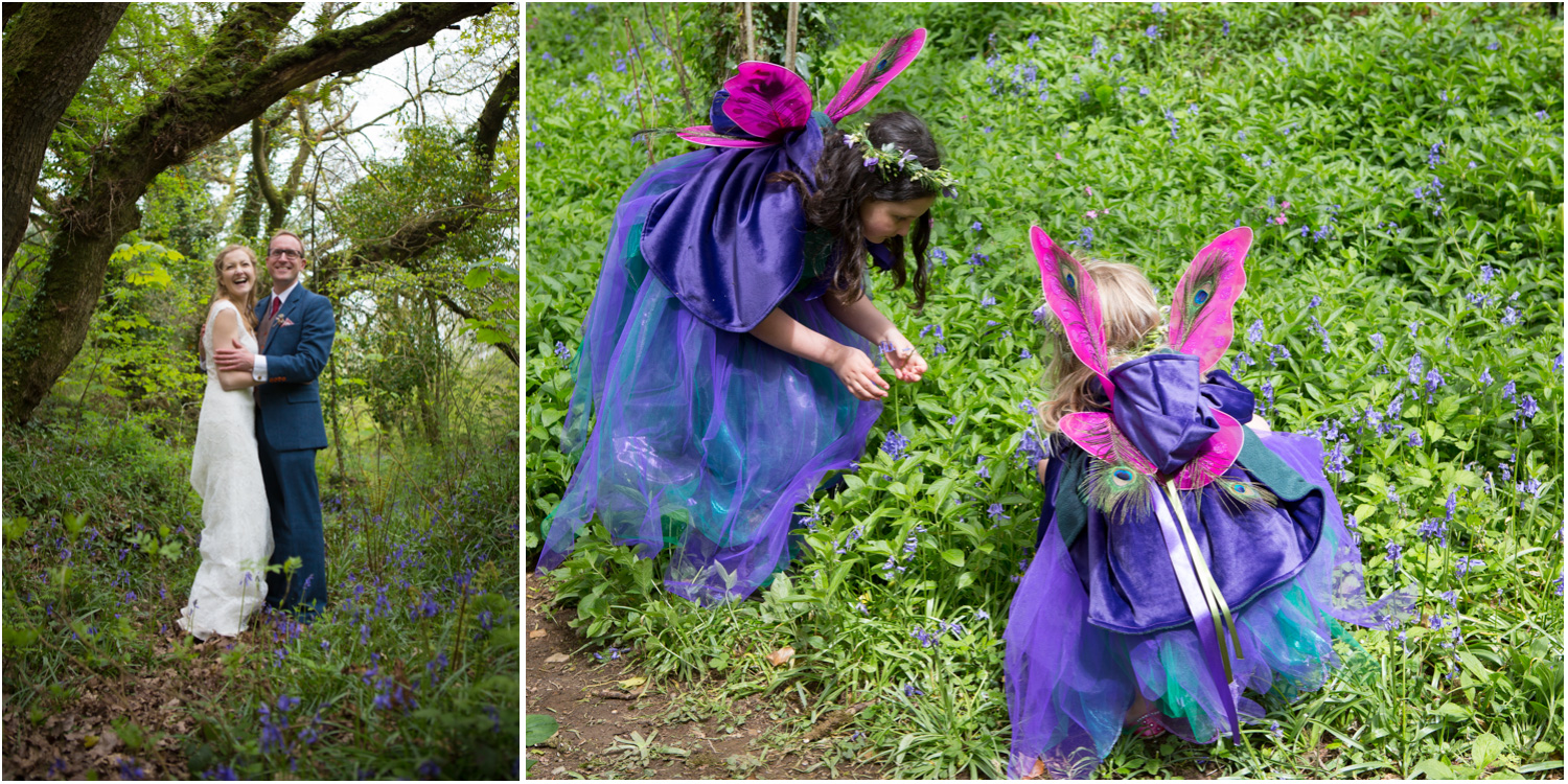 9 Bluebells with Bride and Groom flowergirls dressed as fairies