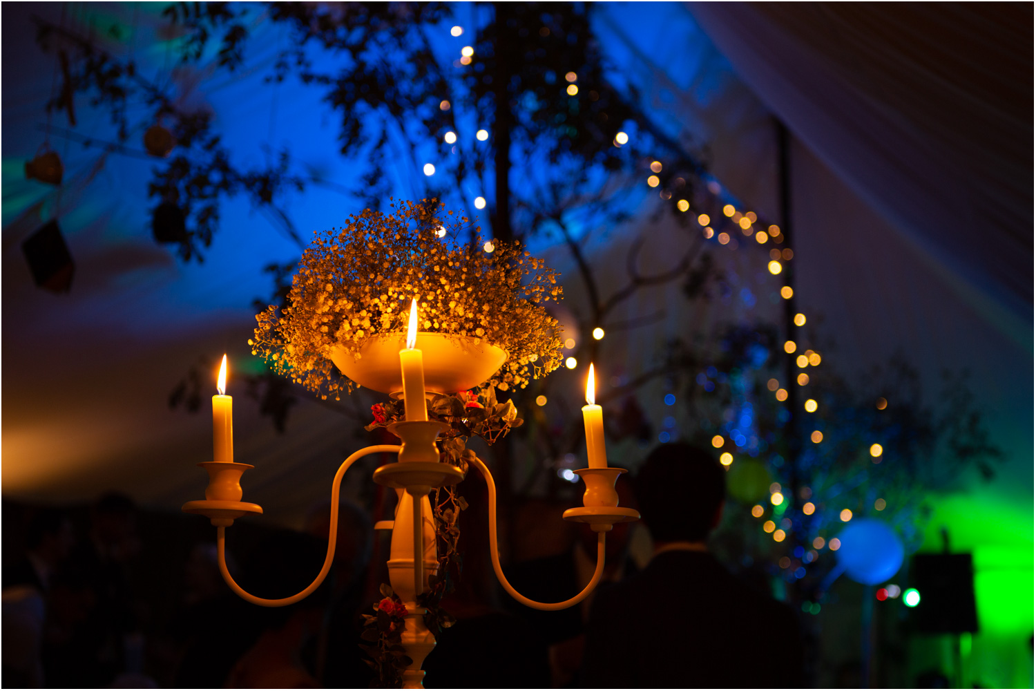 16 night time candelabra with marquee greenery and fairy lights