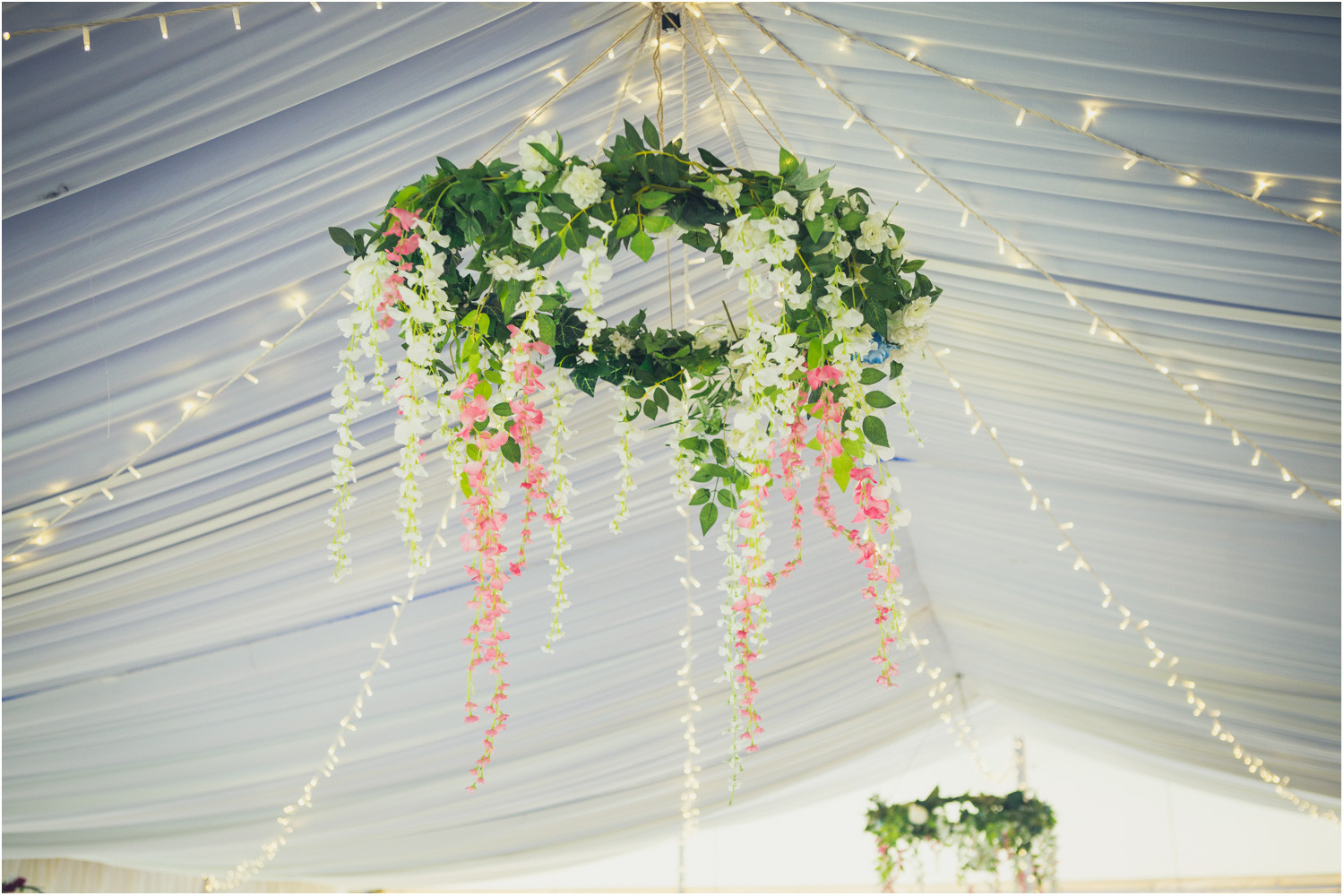 3a fake green garland and flowers