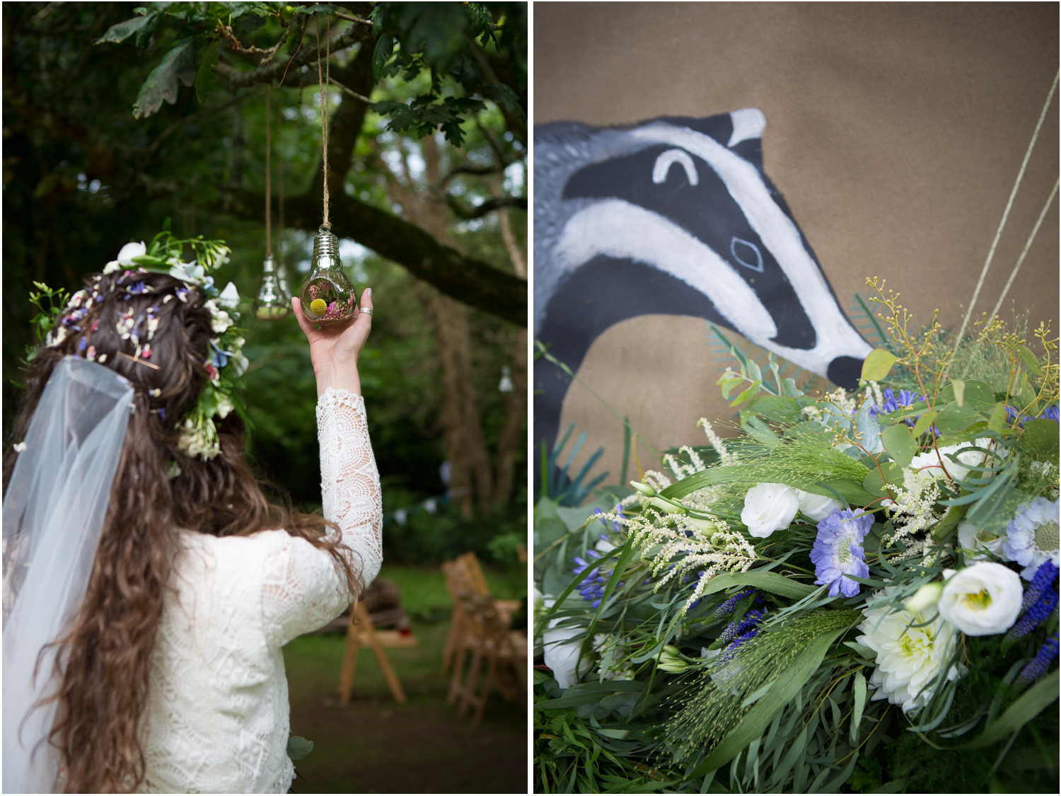 5 flowers hanging in oak tree painted badger tipi with bouquet