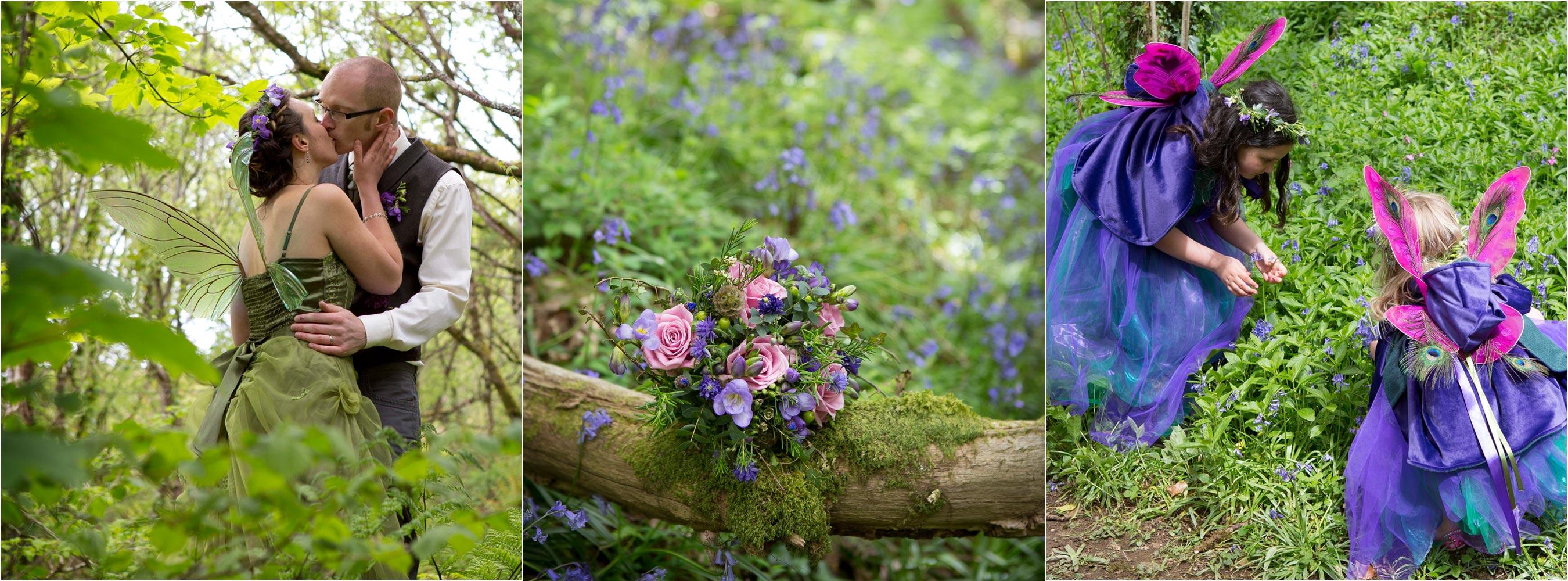 Woodland Fairy Bridge bouquet fairy flowergirls picking bluebells