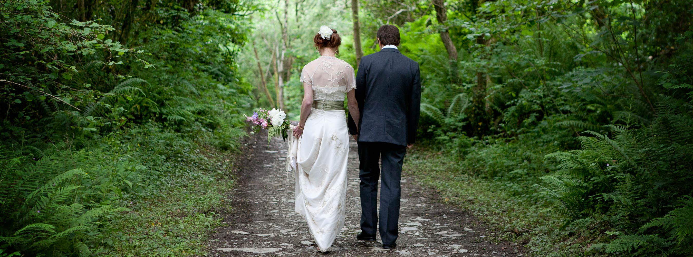 Edwardian Bride Woodland Path