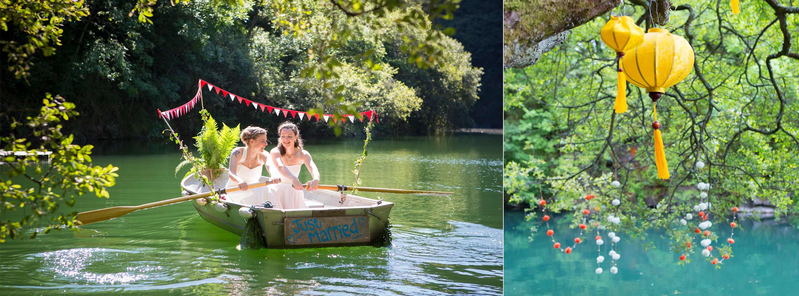 2 brides in a boat and Chinese lantern decorations