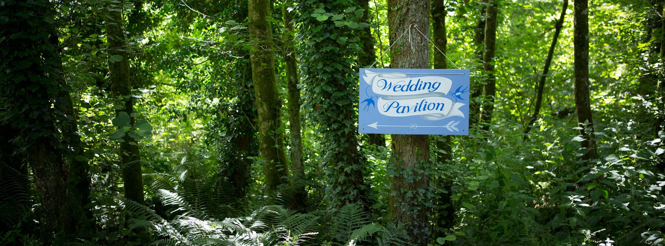 Wedding Pavilion Sign In Woods