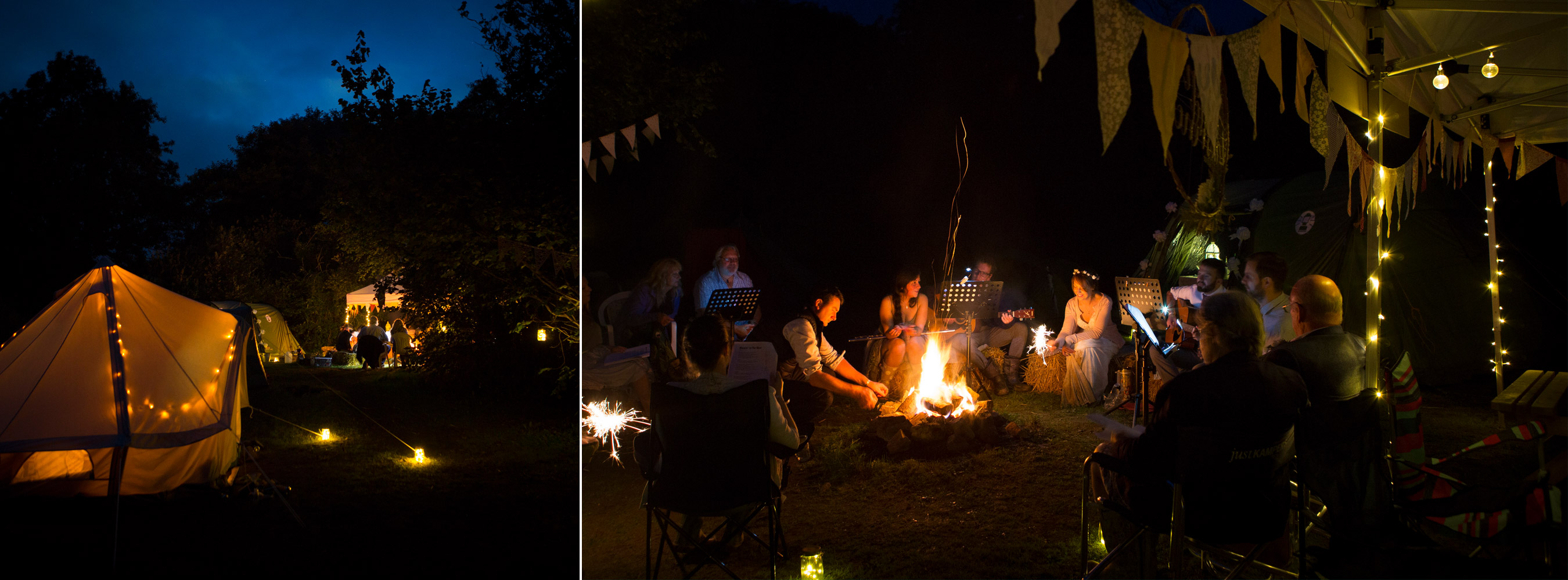 Nightime with Campfire Tents