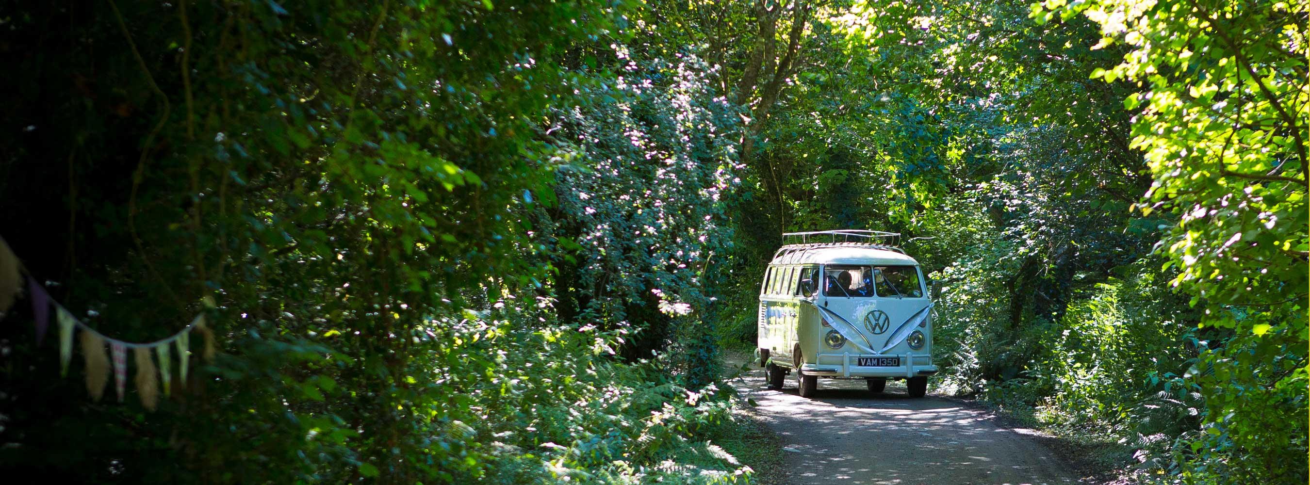 Camper Van Arrival in Woods