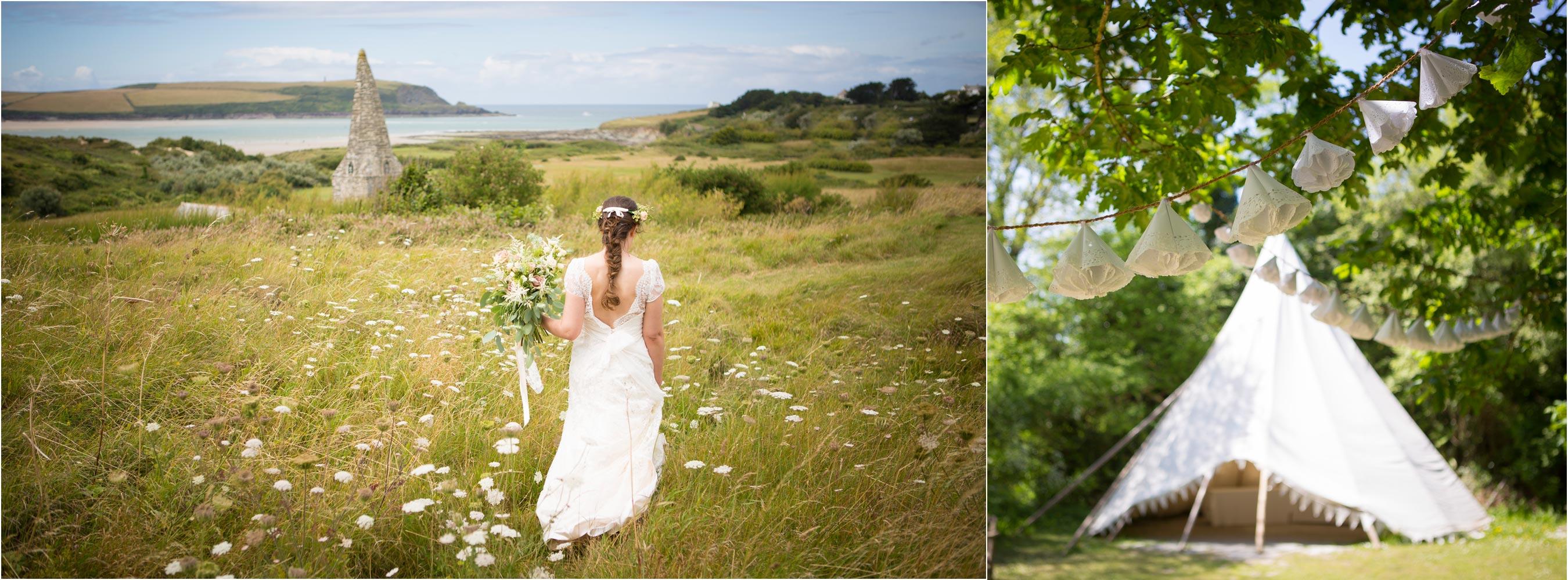 Daymer Bay Bride Woodland tipi